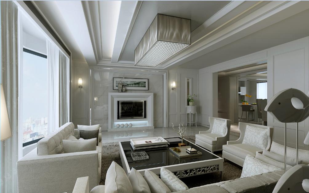 济宁金城国际白色风大客厅方形沙发椅全景落地窗瓷砖嵌入式电视墙客厅创意石膏立体吊顶效果图