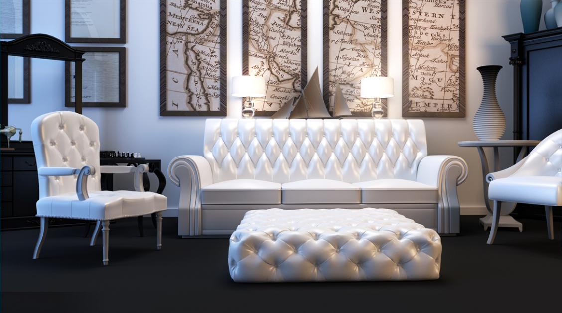 济宁汇富名邸大客厅休闲区白色真皮拉扣沙发客厅墙壁多联木质壁挂画实木储物柜效果图