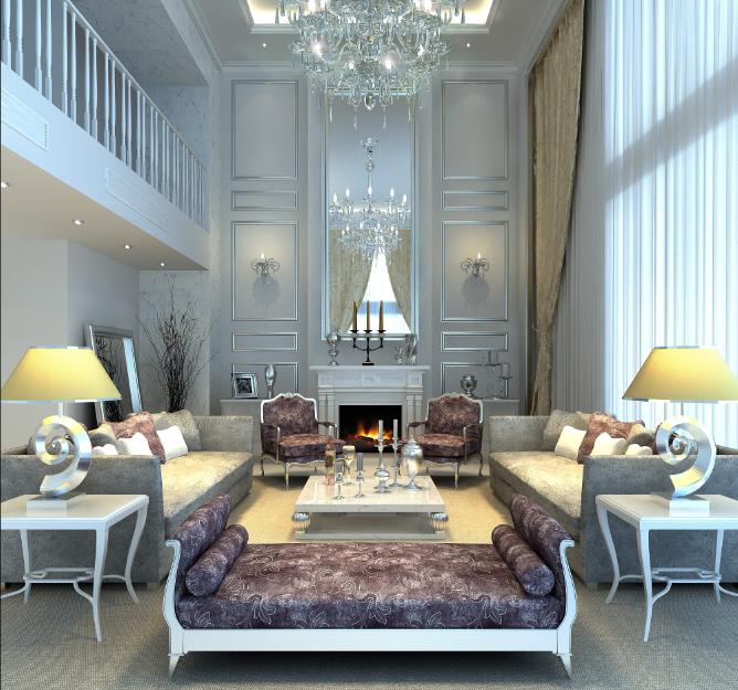 济宁天兴·阳光花园美式别墅中高客厅白色客厅风客厅紫色贵妃躺椅方形沙发落地窗镜面美式壁炉效果图